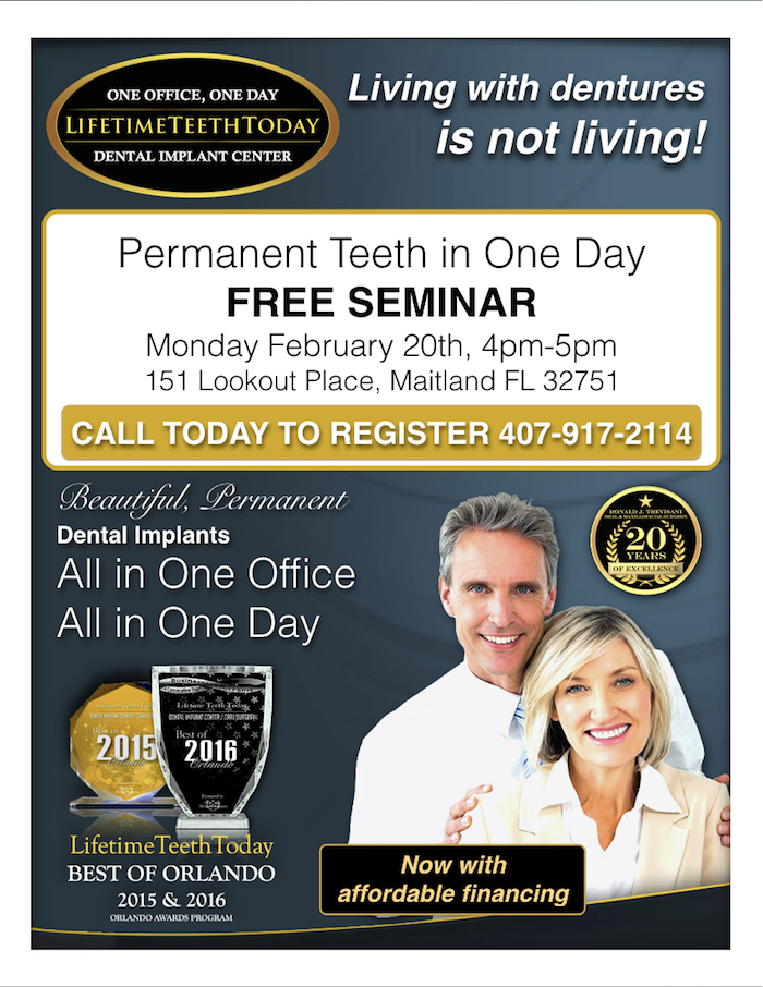 Teeth In One Day - Free February 20Th Seminar - Orlando - Lifetime
